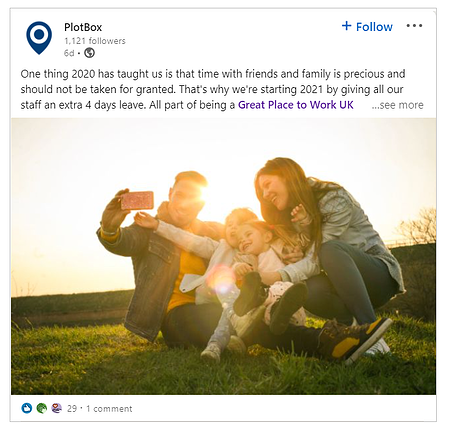 PlotBox-LinkedIn-post-happy-family-great-place-to-work
