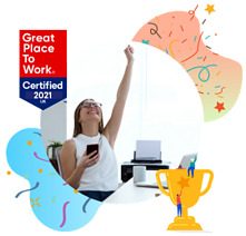 happy-woman-arm-up-great-place-to-work-certified-bubble-2021-badge